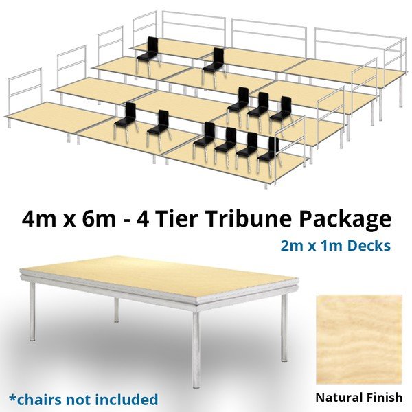Stage Deck 4 Level Tiered Seating Tribune 4m x 6m Package Natural Finish