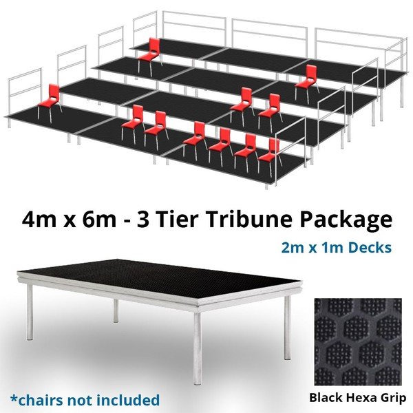 Stage Deck 3 Level Tiered Seating Tribune 4m x 6m Package - Anti Slip Finish