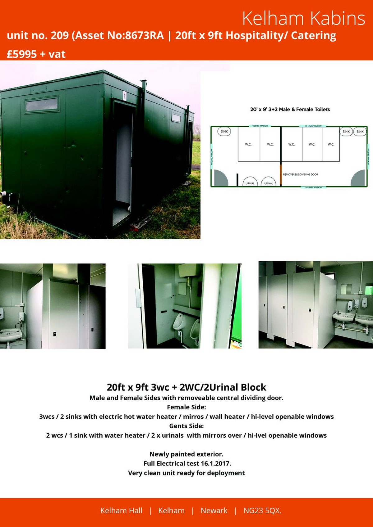 Secondhand Portable Buildings Toilet Cabins 20ft X 9ft