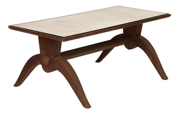 French 1940's Low Oak Table with Antique Mirror Top