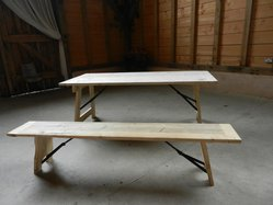 Plank top trestle tables