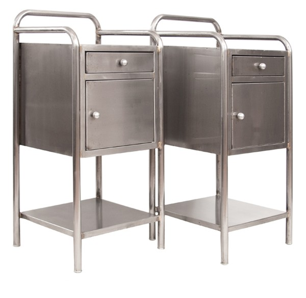 Pair of Vintage Industrial Stripped and Polished Bedside Cabinets