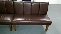 2 No. Secondand Real Chocolate Brown Leather Benches - Nottingham