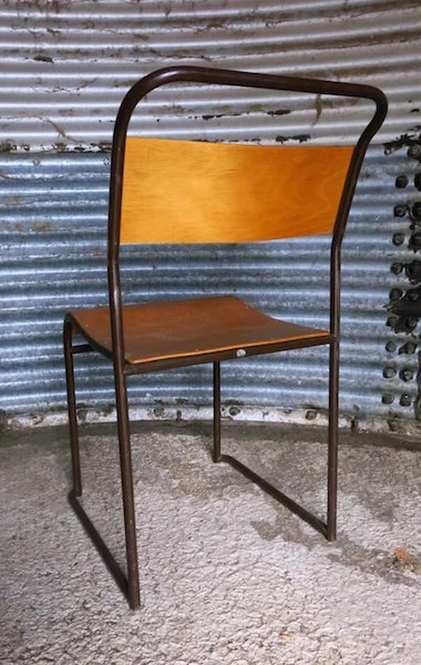 Newport Original PEL Tubular Metal and Plywood Stacking Chairs c1955
