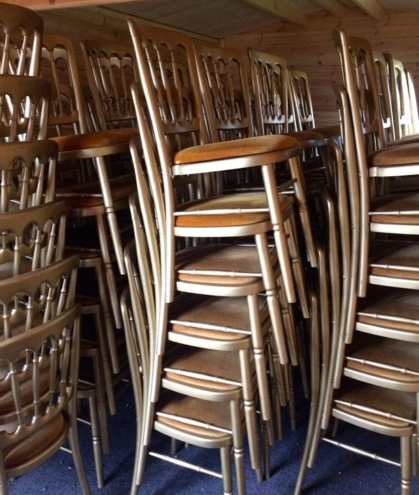 Stacked banqueting chairs