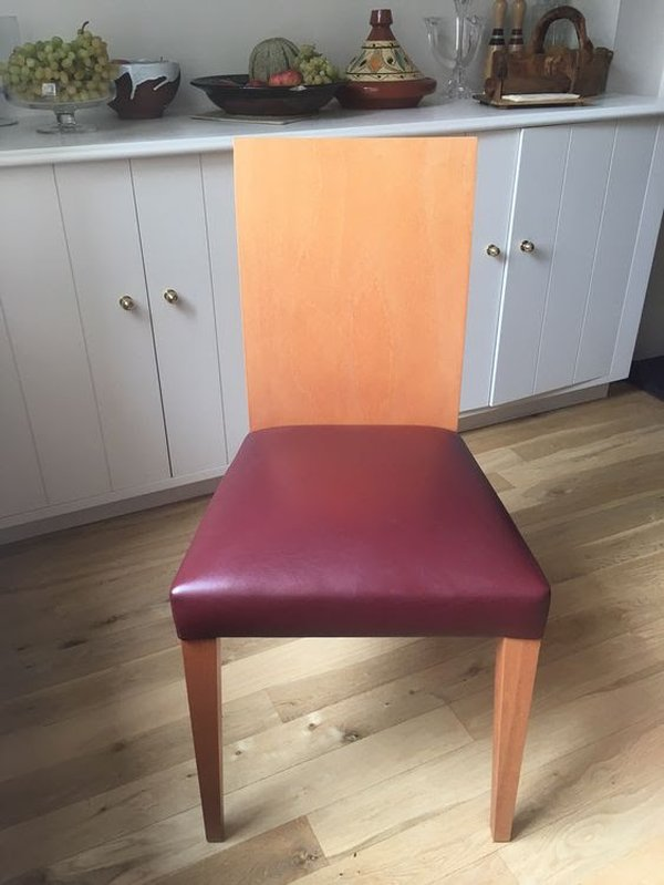 Leather and cherry wood dining chairs