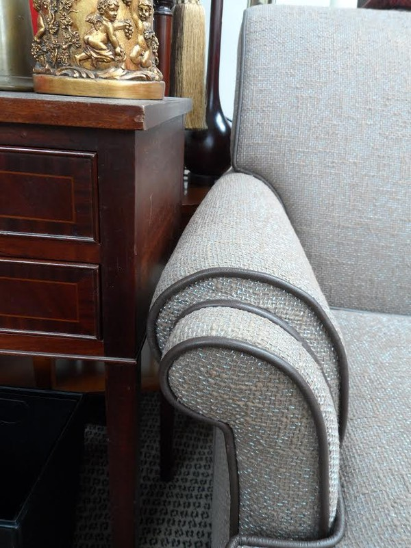 Grey tweed lounge chairs