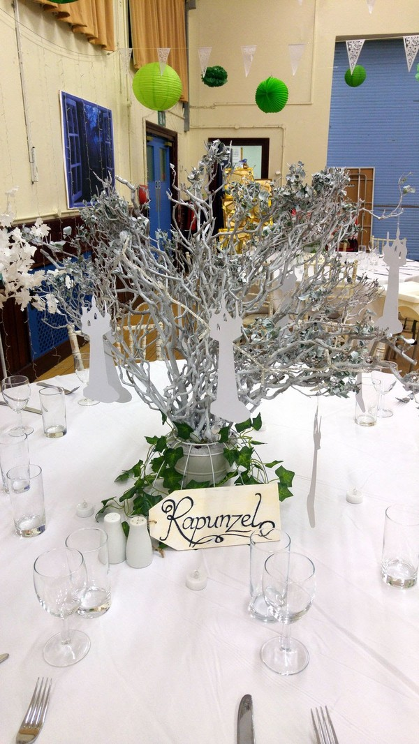 White Wedding Table Decoration With Sign