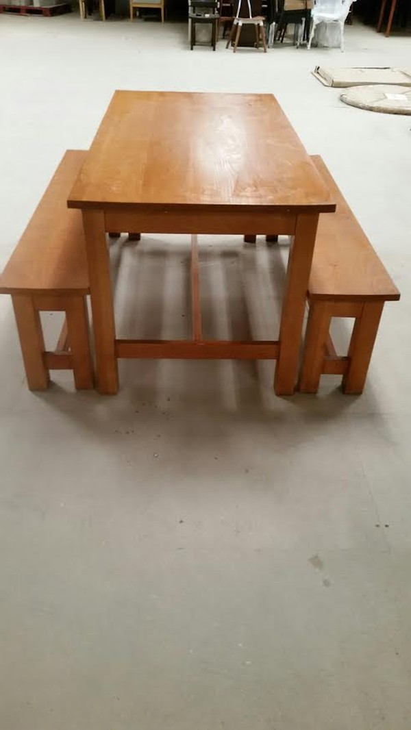 Solid Beech And Polished Golden Oak Refectory Table