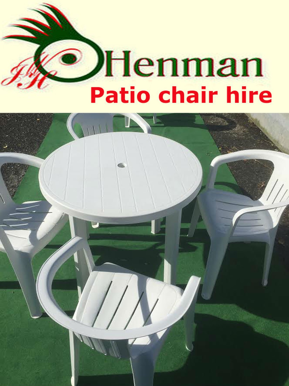 Patio chairs and tables hire