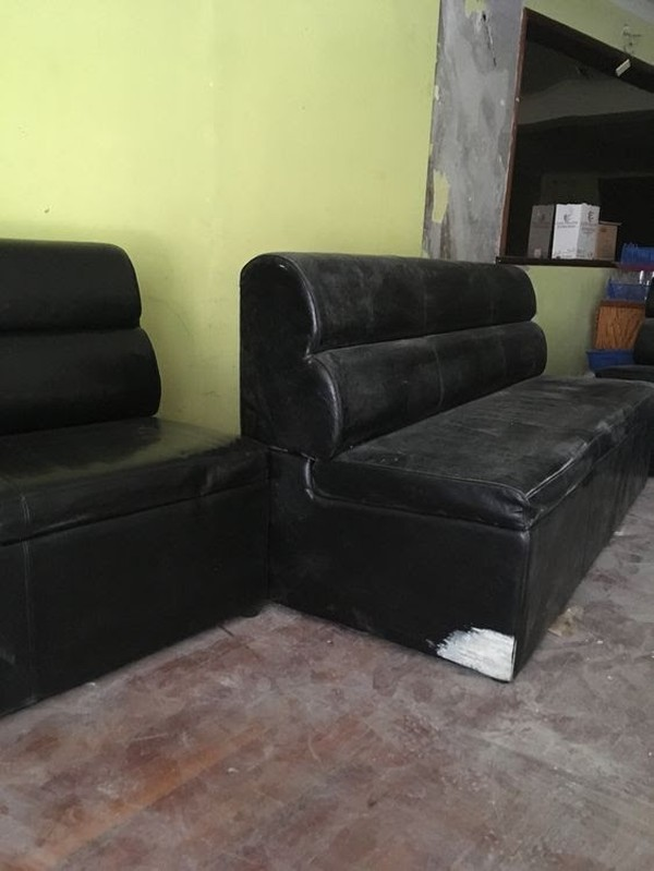 Black Leather Banquettes