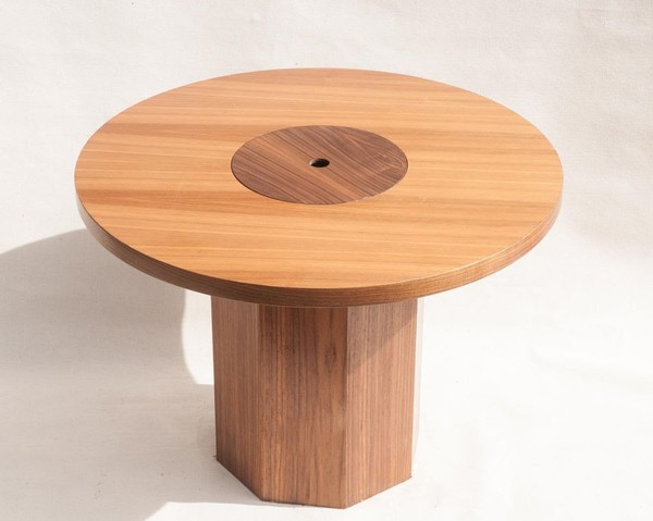 Round wooden table with Champagne bucket built in