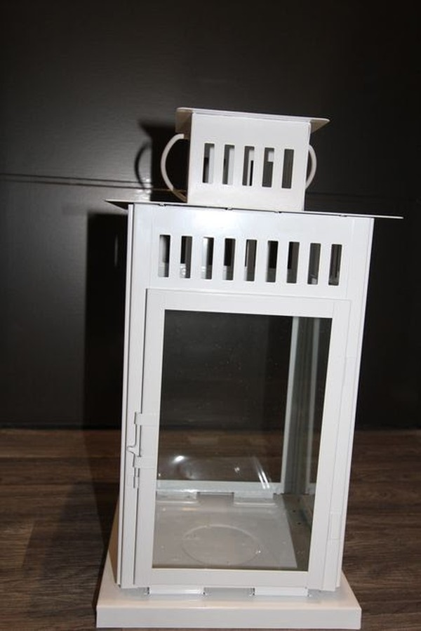White Metal Floor Lantern For Sale