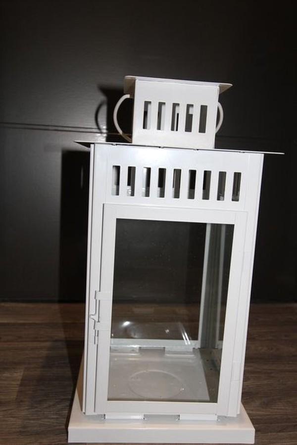 White Metal Floor Lantern For Sale
