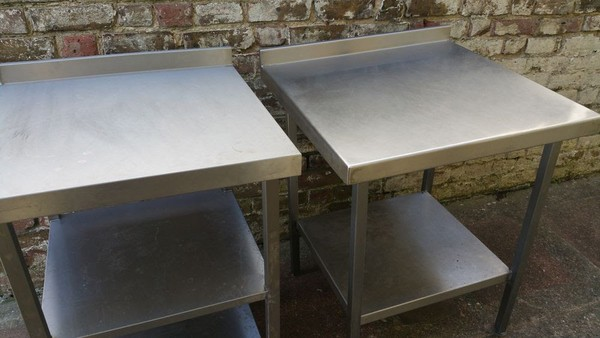 Stainless Steel Prep Table with Upstand x 2