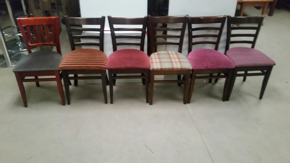 Mixed Upholstered Seat Dallas Chairs With Dark Oak Frames
