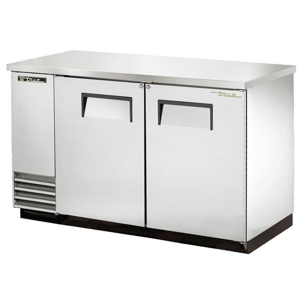True Solid Swing Door Stainless Steel Back Bar Cooler
