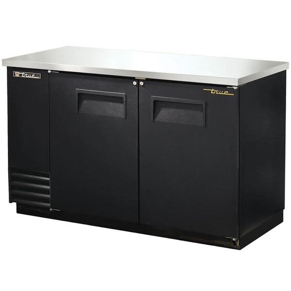 True - Solid Black Back Bar Double Door Cooler