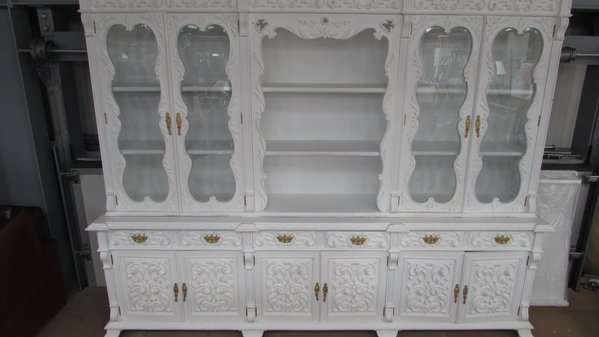Portuguese Carved Cabinet and Dining Set of 8 Chairs and Table