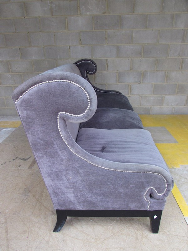 Used Purple Fabric and Feather 3 Seat Sofa