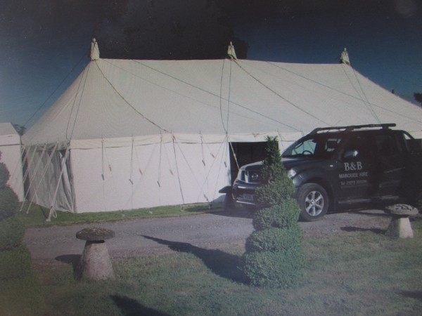 Large canvas roofed Traditional marquee