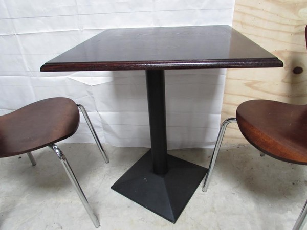 Solid Wooden Topped Square Cafe Table