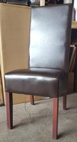 Dark Brown Faux Leather Upholstered Restaurant Chair
