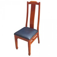 Classic Style High Back Solid Wood Dining Chair With Faux Leather Seat