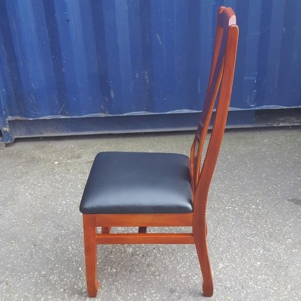 Wood Dining Chair With Faux Leather Seat