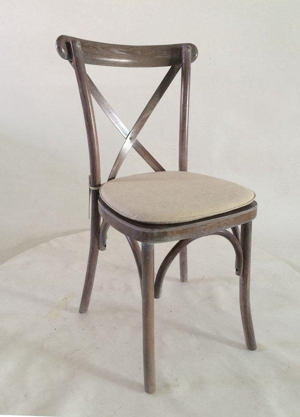 Cross Back Rustic Wedding Lime Wash Chair