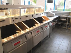 Hopkins 3 Pan High Efficiency Frying Range with Stainless Steel Serving Counter