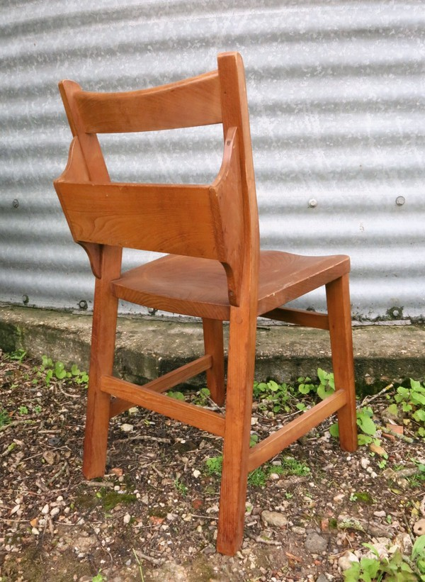 Mid 1960s Elm 'Dog Leg' Church Chapel Chairs