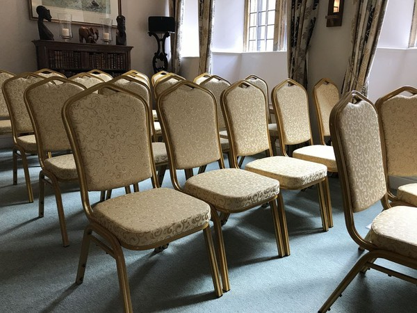 65x Gold Banquet Chairs Unused