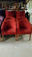 Red fabric tub chairs