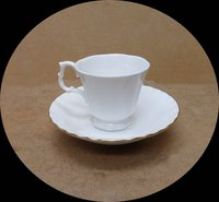 Bone China White Cup & Gilded Saucer