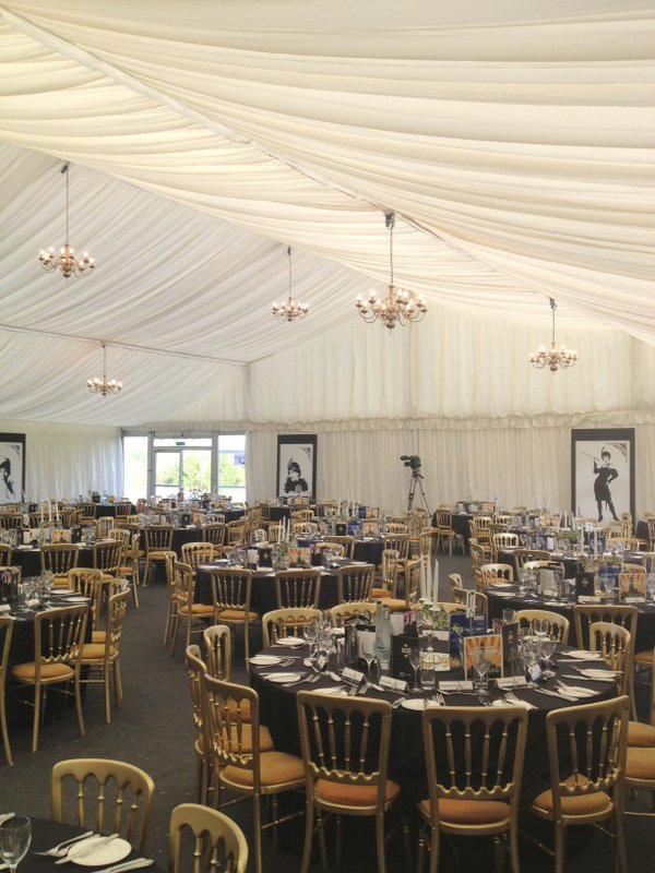 110m of 3m High Ivory Gathered Marquee Walls