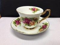 Vintage English Rose Bone China Cups & Saucers