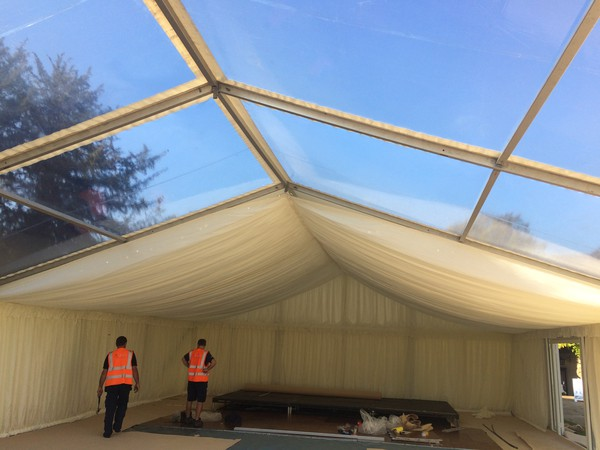 10m x 30m of White Pleated Roofs and 1 additional set of Hip Ends