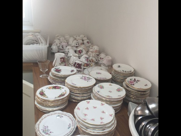 Used Vintage bone china pink and red roses mismatch