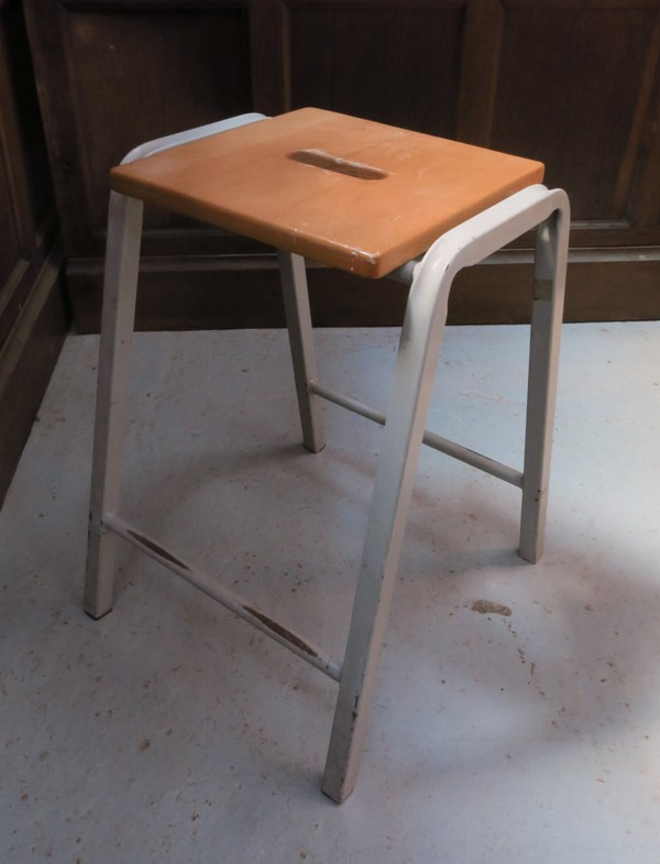 Retro Beech and steel 1960s Science Lab Stacking Stools (E) (SHC)