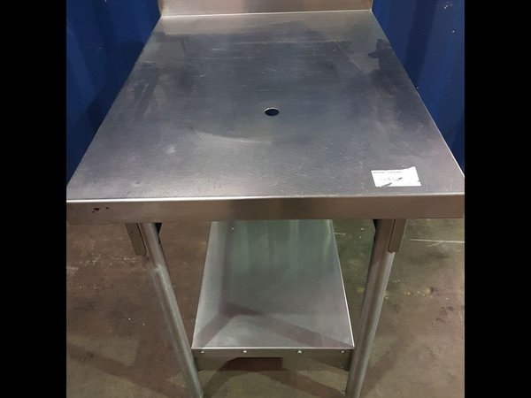 Stainless steel table with waste hole