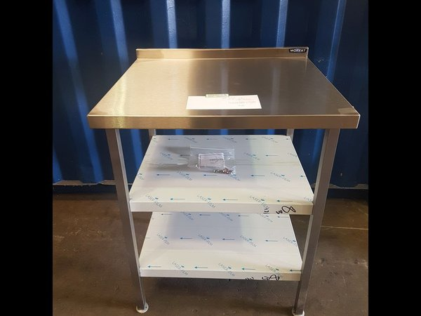 Small square stainless steel table