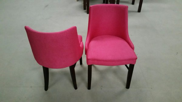 New (Slight Seconds) Pink Flat Weave Fabric Upholstered Chairs