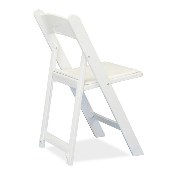 Folding white wedding chairs