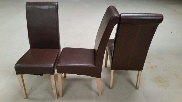 65 x Chocolate Brown Real Leather Roll Back Dining Chairs - Derby