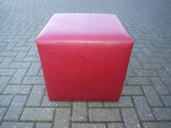 Red Faux Leather Cube Style Seats