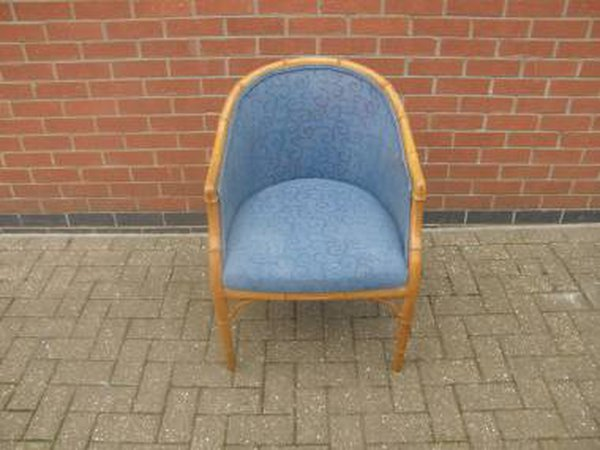 Cane Tub Chair with Blue Upholstery