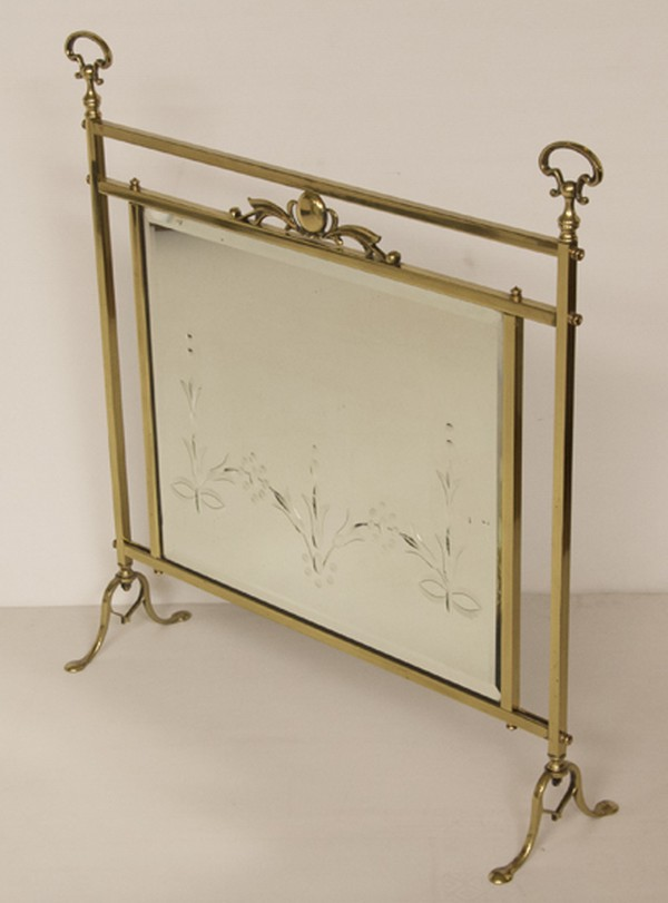 Edwardian Brass Fire Screen with Beveled Mirror Panel