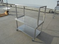 Steel table with gantry shelf