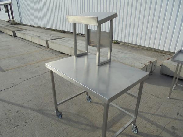 Steel table with gantry shelf